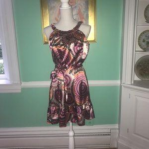 Aryeh NWT Pink Sun Print Dress Size L